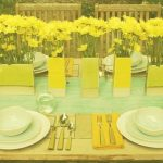 Table at garden with flowers